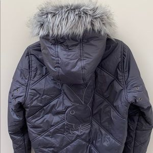 Playboy puffer jacket with removable hood
